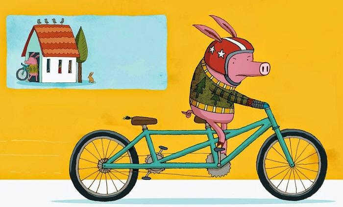 поросенок на велосипеде
