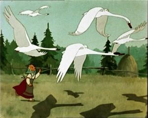 Кадр из сказки Гуси-лебеди