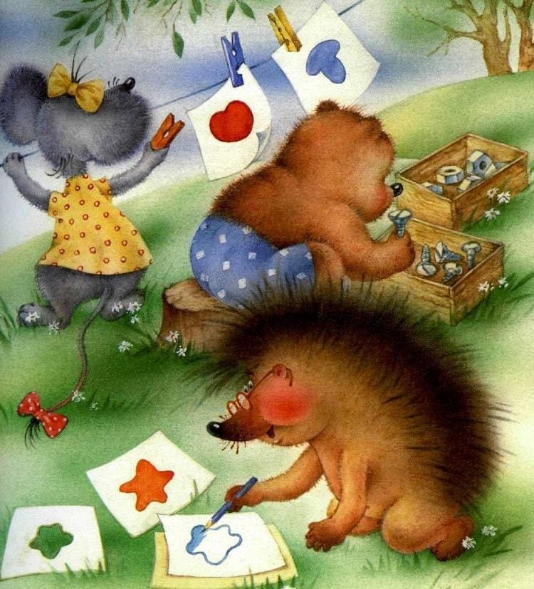 Ёжик, Мышка и Мишка